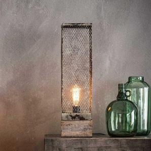 Industry Design Tischleuchte aus Massivholz und Metall 55 cm hoch