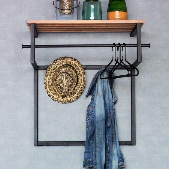 Industry Design Wandgarderobe aus Stahl in  Schwarz Hutablage aus Holz
