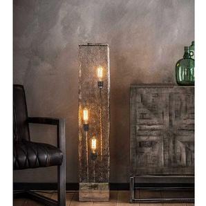 Industry Stehlampe aus Massivholz und Metall 110 cm hoch
