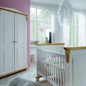 INFANSKIDS Romantik Babyzimmer Eck-Kleiderschrank weiss gewachst