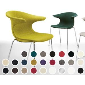 infiniti LOOP 4 Legs gepolstert Designer-Stuhl AC30 Weiß matt lackiert / Echtleder Rot