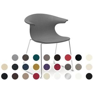 infiniti LOOP Sledge gepolster Designer-Stuhl AC30 Weiß matt lackiert / Stoff Byte 707