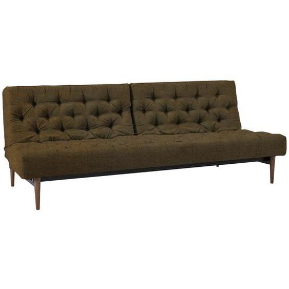 Innovation Chesterfield-Sofa Braun Lederlook , Textil , 3-4-Sitzer , 210x79x115 cm