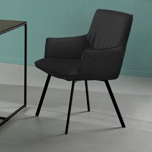 INOSIGN Armlehnstuhl Sally, mit einem pflegeleichten Kunstlederbezug, schwarzen Metallbeinen, Sitzhöhe 47 cm B/H/T: 58 x 89 64,5 cm, 2 St., Kunstleder Lederoptik schwarz Armlehnstühle Stühle Sitzbänke