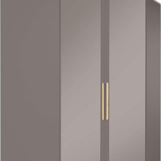 Eckkleiderschrank  mit Spiegeltürenv und viel Stauraum »Rula«, 114.5x201.5x114.4 cm (BxHxT), INOSIGN, grau, Material Spanplatte, Massivholz, Metall