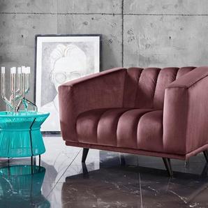 INOSIGN Loveseat Rimini, mit ungewöhnlicher Steppung in modernem Design Samtvelours, B/H/T: 132 cm x 81 84 rot Sessel Hocker Möbel sofort lieferbar