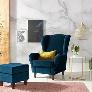 INOSIGN Sessel, mit Bezug, in Samtoptik, mit und ohne Hocker
