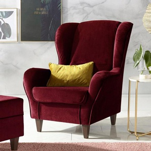 INOSIGN Sessel mit Bezug in Samtoptik, mit und ohne Hocker
