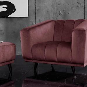 INOSIGN Sessel Rimini, mit ungewöhnlicher Steppung in modernem Design Samtvelours, B/H/T: 112 cm x 81 84 rot Hocker Möbel sofort lieferbar