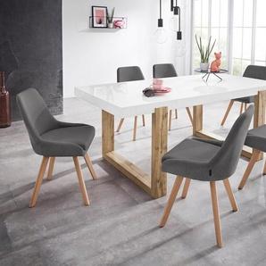 INOSIGN Stuhl »Dilla« (Set, 2 Stück), im 1er und 2er Set erhältlich, aus pflegeleichtem Webstoff Bezug und massiven Eichenholzbeinen, Sitzhöhe 48 cm