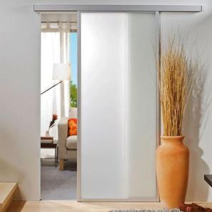 Schiebetür Glas Tür Glasschiebetür gerahmt weiß matt 865x2035 Nischentür - inova Star