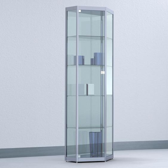 INSIDE Standvitrine in Spitz-Eck-Form mit Fl�gelt�r b62xt41xh182cm