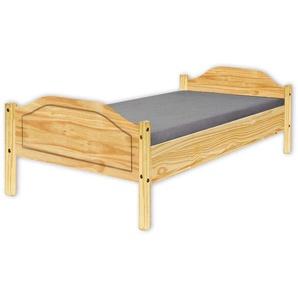 Inter Link Jugendbett Einzelbett Gästebett modernes Bett 90x200 Echt Holz Kiefer Natur lackiert, Braun, 207 x 97 x 73 cm