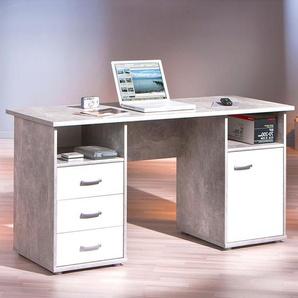 Inter Link Schreibtisch ,grau ,Holzoptik
