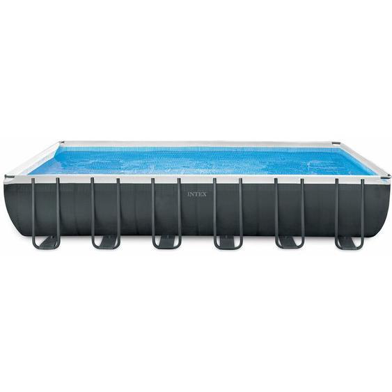 Intex Frame Swimming Pool Set Ultra Quadra XTR anthrazit 732 x 366 x 132 cm Inkl. Sandfilteranlage und Salzwassersystem