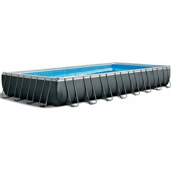 Intex Frame Swimming Pool Set Ultra Quadra XTR anthrazit 975 x 488 x 132 cm Inkl. Sandfilteranlage und Salzwassersystem