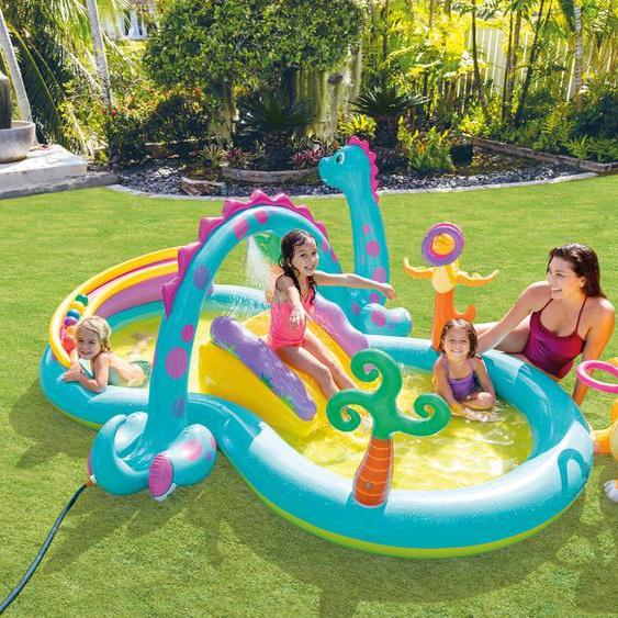 Intex Planschbecken Dinoland Play Center B/H/L: 229 cm x 112 302 cm, 290 l bunt Pools Garten Balkon