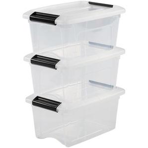 IRIS OHYAMA,3er-Set stapelbare Aufbewahrungsboxen / Kisten / Stapelboxen,mit Klickverschluss, Plastik, transparenter Deckel, 5 L,