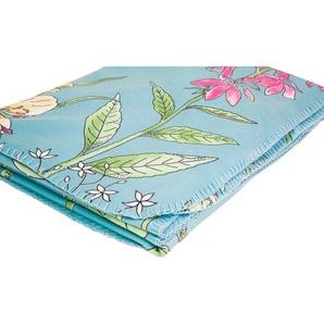 Irisette Wohndecke Roma 8924, mit Blumenmotiven B/L: 130 cm x 170 blau Fleecedecken Decken