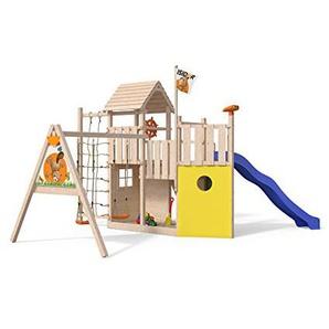 ISIDOR Kon Tiki Neo Spielturm Kletterturm Baumhaus Rutsche Schaukeln (Einfacher Schaukelanbau)