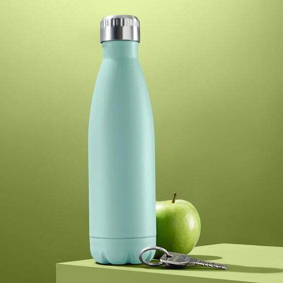 Isolier-Trinkflasche - Flaschenkörper mintfarben Deckel edelstahlfarben - Edelstahl -