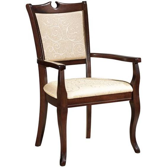 Italienischer Design Stühle in Beige und Walnussfarben (2er Set)