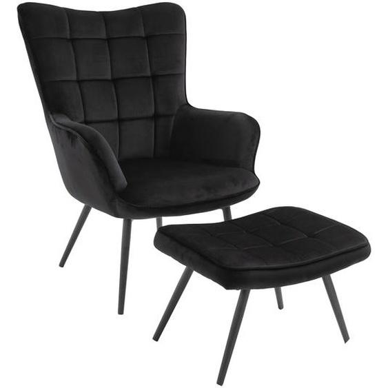 Jackson - Sessel mit Hocker, Samt, Schwarz