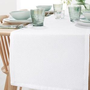 Jacquard-Tischläufer - Weiß - Wolle -