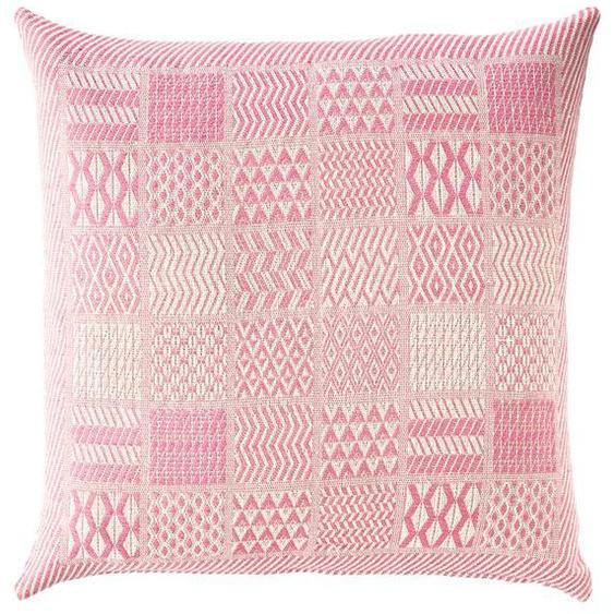 Jacquardkissenhülle pink - Beige/Pink - 100 % Baumwolle - Zierkissen & Polsterrollen  Zierkissen - Kissenbezüge