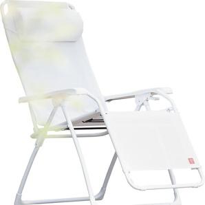 Jan Kurtz - Liege AMIDA, Cadre: Aluminium weiß, Bezug:Kunststoffgewebe weiß, Kunststoff-Accoudoirsn - outdoor