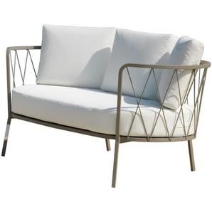 Jan Kurtz - 2 Sitzer SUNDERLAND, Stahl pulverbeschichtet-taupe matt, ca.73 x 162 x 68 cm, Sitzhöhe ca.44 cm - outdoor