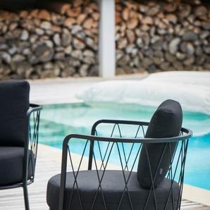 Jan Kurtz - Loungesessel SUNDERLAND, Stahl pulverbeschichtet schwarz, ca.73 x 74 x 61 cm, Sitzhöhe ca.44 cm - outdoor