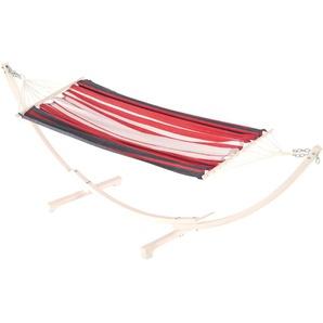 RESTPOSTEN: JOBEK Paraty Stabhängematte mit Gestell, weiß/Streifen rot, FSC-Hartholz/JobekCord, 200x140cm