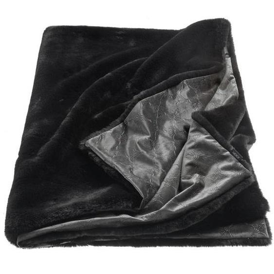 Joop! Plaid 130/170 cm Schwarz , Textil , Uni , 130 cm