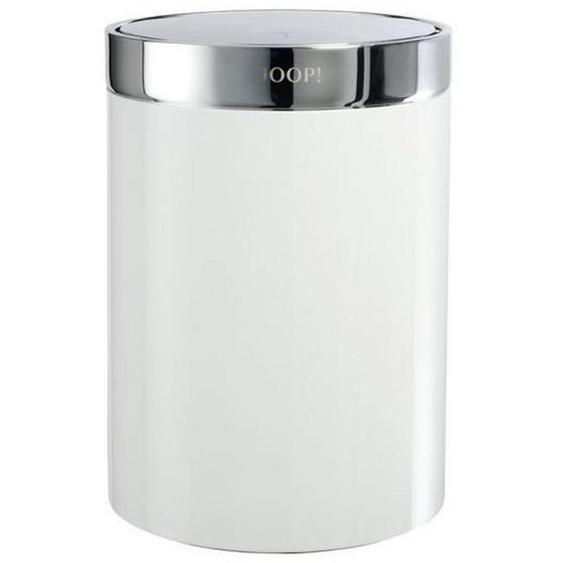 Joop! Schwingdeckeleimer , Silber, Weiß , Metall , 26 cm