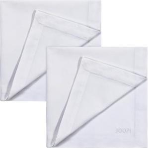 Joop Stoffserviette STITCH, (Set, 2 St.), In Vollzwirn-Qualität mit JOOP Logo- und Kornblumen-Stickerei Baumwolle weiß Stoffservietten Tischwäsche