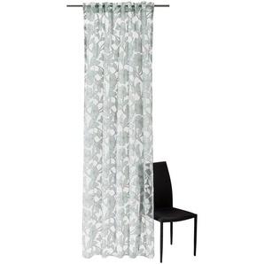 Joop! Vorhangschal transparent 130/250 cm , Weiß, Grau, Blau , Textil , Floral , 130x250 cm