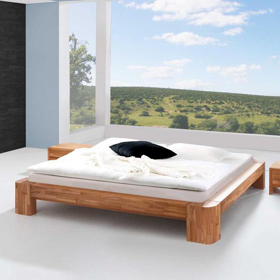 Jugendbett aus Kernbuche Massivholz ohne Kopfteil