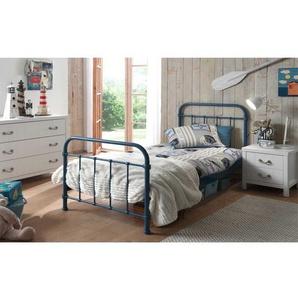 Jugendbett in Blau Metall