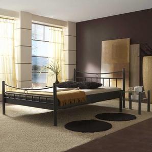 Jugendbett in Schwarz Eisen mit Nachttisch (2-teilig)