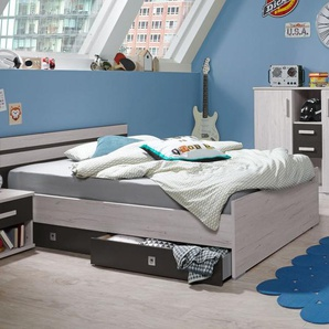 Jugendbett Mereto, Eiche weiß, 90x200 cm, mit Schubkästen