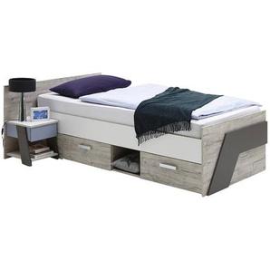 Jugendbett Set mit Nachtisch LEEDS-10 in Sandeiche Nb. mit weiß, Lava und Denim Blau, 90x200cm