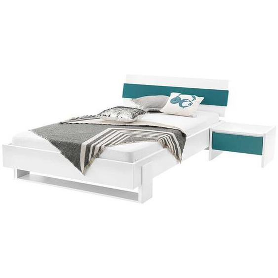 Jugendbett und Nachttisch in Weiß Petrol modern (2-teilig)