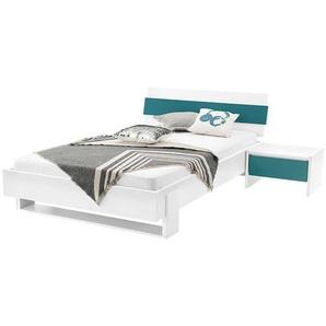 Jugendbett und Nachttisch in Wei� Petrol modern (2-teilig)