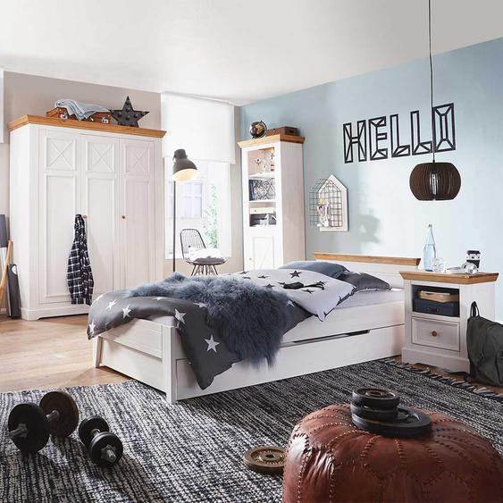 Jugendschlafzimmer in Weiß und Eichefarben Kiefer Massivholz (4-teilig)