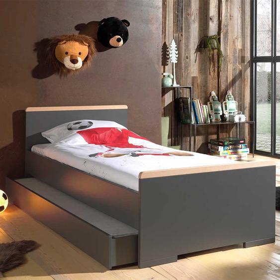 Jugendzimmer Bett in Anthrazit und Buche modern