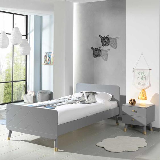 Jugendzimmer Bett in Grau und Goldfarben modern (2-teilig)