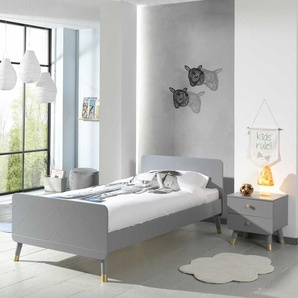 Jugendzimmer Bett in Grau und Goldfarben modern (zweiteilig)
