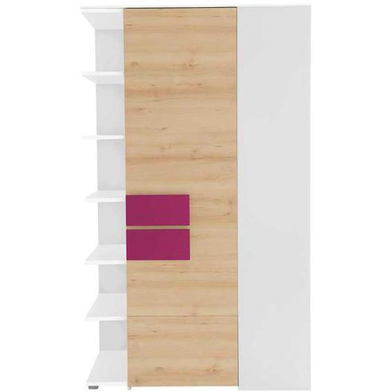 Jugendzimmer Eckkleiderschrank in Buche Pink mit Regal