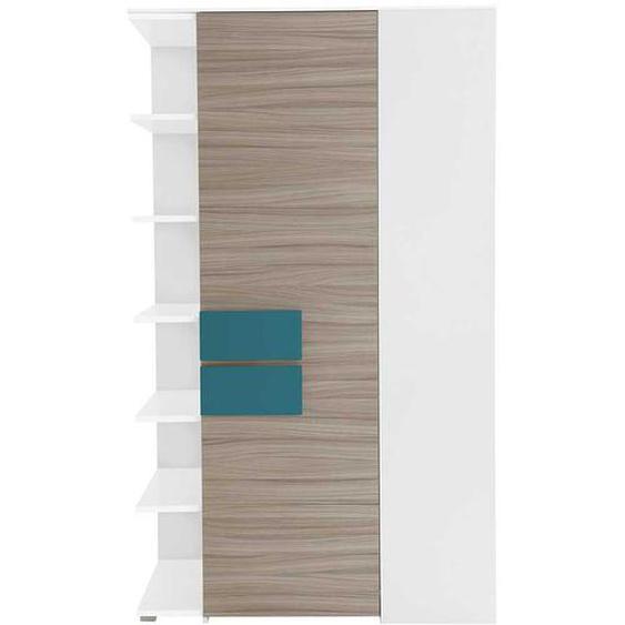 Jugendzimmer Eckschrank in Holz Petrol Regal Weiß